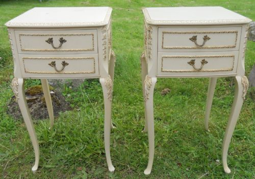 Pair Louis Style Painted Bedside Cabinets